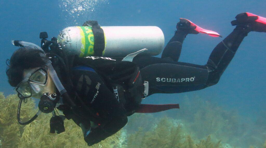 Scientist Anna Metaxas scuba diving