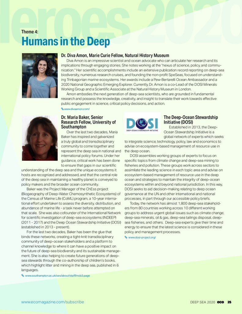 Photo of deep-sea heroes shortlist in ECO Magazine 2020